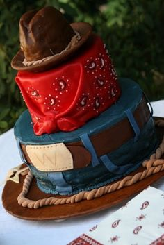 "Cowboy Cake @Heather Hooper for Wy! there is even a ""W"" on it!!"