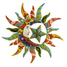 Celestial Sun and Moon Graphics | Colorful Sun, Moon, Star - Celestial Metal Wall Art [NMD55103]