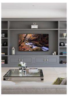 Built In Shelves Living Room, Living Room Wall Units, Living Room Tv Unit Designs, New Living Room, Interior Design Living Room, Small Living, Room Interior, Salas Home Theater, Modern Tv Room