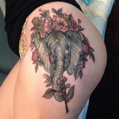 Elephant on girls hip by Sophia Baughan. http://tattooideas247.com/elephant-hip/