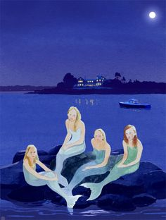 his sketch was a study for a commission project that Felix completed a few years ago.  Felix was inspired to paint these lovely girls as mermaids  after visiting the family's home and seeing them sitting on the rocks.