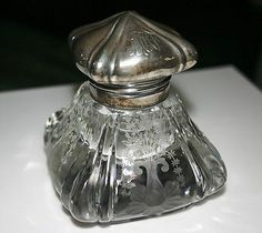 1890s Gorham Sterling and Crystal Inkwell