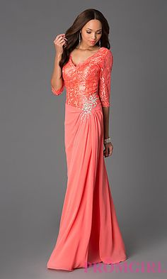 Long V-Neck Lace Evening Dress with Sleeves at PromGirl.com