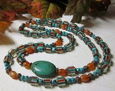 Cane glass beads on necklace