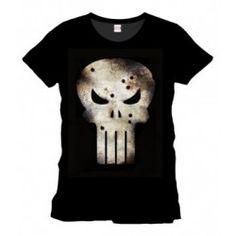 The Punisher - Damaged Skull T-Shirt - Black