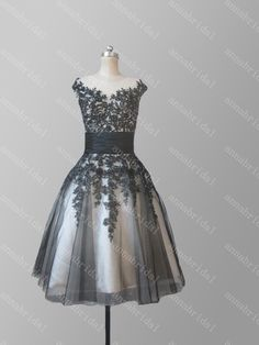 Sheer Short Prom Dresses Black Tulle with Champagne Inside Lace Appliques Beaded Sequins Knee Length Evening Dress Vintage Party Dress 2015 by Annabridal on Etsy https://www.etsy.com/listing/217243217/sheer-short-prom-dresses-black-tulle