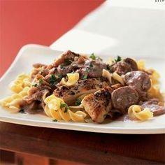 Chicken with Pecan Cream and Mushrooms Recipe   MyRecipes.com