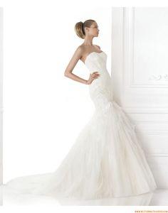 2015 Meerjungfrau Exklusive Moderne Brautkleider aus Softnetz mit Applikation