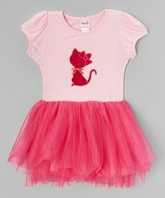Pink & Hot Pink Kitty Dress - Infant, Toddler & Girls