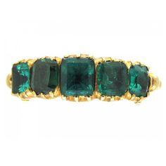 Georgian Emerald Gold Five Stone Ring | circa 1810 https://www.1stdibs.com/jewelry/rings/engagement-rings/