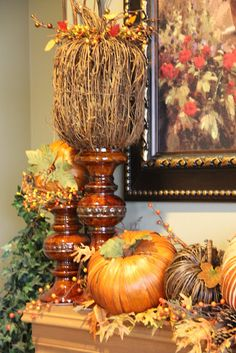 Savvy Seasons by Liz: Fall Mantle Fall Mantel Decorations, Thanksgiving Decorations, Mantle Ideas, Thanksgiving Ideas, Thanksgiving Mantle, Mantle Art, Harvest Decorations, Christmas Centerpieces, Fireplace Ideas