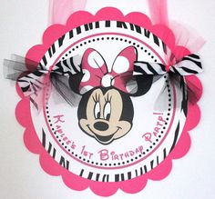 Minnie Mouse Door Sign  Hot pink and zebra by SweetEventsBoutique, $12.00