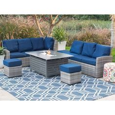 Outdoor Patio Furniture Wicker Sofa Fire Pit Table Ottoman Garden Yard Pool Home #OutdoorPatioFurniture