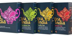 tea india packaging, designed by embrace brands; via the dieline. great use of patterns.