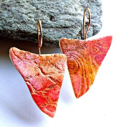 """""""Journeys"""" earrings - polymer clay by Christine Damm, Stories They Tell. I'm teaching this polymer clay veneer technique in my current workshops, see my website for more info."""