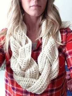 I LOVE THIS!!!! Crochet (or knit) three long pieces then braid them together and stitch closed to make an eternity scarf!. (Mom!)