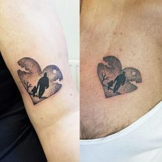 Get more father-daughter tattoo ideas at CafeMom. The dot work on these sentimental heart tattoos is very precise. #tattooideas #tattoos