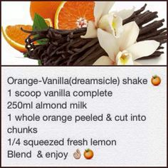 Orange vanilla (dreamsicle) Orange Peel, Almond Milk, Vanilla, Lemon, Beef, Fresh, Recipes, Food, Meat