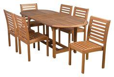 Eucalyptus 7-Pc Oval Patio Dining Set