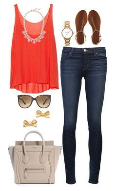Red. by the-southern-prep on Polyvore featuring Enza Costa, J Brand, Avec Modération, Kate Spade, J.Crew and Ray-Ban