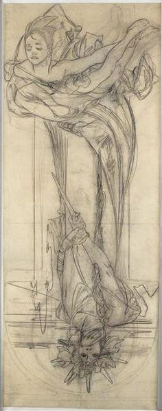 Alphonse Mucha (1860-1939) - Drawing for a Poster of Sarah Bernhardt en Médée (Sarah Bernhardt in Medea). Circa 1898.