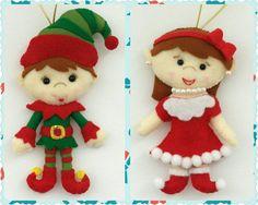 Conjunto de cinco fieltro Figurenes Santa Claus señora Santa