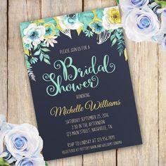 Blue Flower Bridal shower invitation template edit with adobe reader