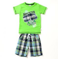 Toddler Boys Two Piece Monster Truck Top and Plaid Shorts Set - Fit For Every Occasion - Events