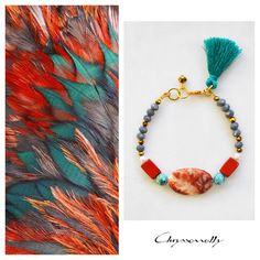 JEWELRY | Chryssomally || Art & Fashion Designer - Boho luxe tassel bracelet with orange, mint green, white and grey gemstones and gold crystals