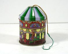 Vintage Carousel Tin Ornament Storage Tin by MysticLily on Etsy