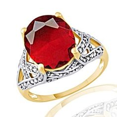4.50Ct Oval July Birthstone Ruby With .13Ct Round White Zircon 10K Gold Ring by JewelryHub on Opensky
