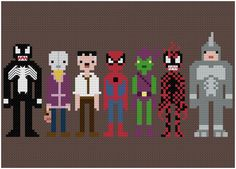 Impossibly Cool 8-Bit Cross-Stitches of Spider-Man and his enemies.