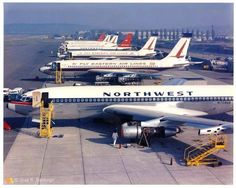 Boeing getting ready for delivery Boeing 720, Boeing Aircraft, Commercial Plane, Commercial Aircraft, Travel Sights, Air Travel, Illinois, Northwest Airlines, Airplane Window