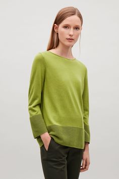 COS image 1 of Ribbed panel jumper in Green
