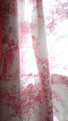 Pink toile curtains