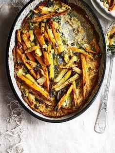 Swede, kale and sweet potato gratin: This recipe for swede, kale and sweet potato gratin is the perfect side dish or veggie main for the colder months. It takes a little time but is really easy