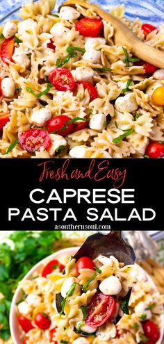 This fresh and easy salad combines all the classic flavors of a Caprese Salad with pasta! Perfect as a simple family side dish or when feeding a crowd this make-ahead recipe for the best Caprese Pasta Salad delivers a burst of flavor everyone will love. Vegetarian Pasta Recipes, Pasta Salad Recipes, Noodle Recipes, Side Dish Recipes, Side Dishes, Ww Recipes, Family Recipes, Family Meals, Skinny Pasta
