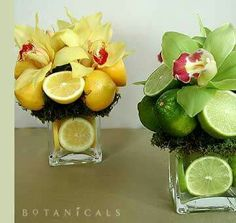 Lime and Lemon centerpieces Fruit Centerpieces, Fruit Arrangements, Centerpiece Ideas, Flower Arrangement, Lime Centerpiece, Wedding Centerpieces, Wedding Decor, Deco Fruit, Lime Wedding