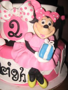 Minnie Mouse Birthday Cake, gum paste fondant