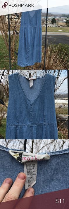 Tomorrow's Mother Sleeveless Denim Jean Dress S Tomorrow's Mother Denim Blue Jean lightweight sleeveless dress could also be a jumper. Size small dress slips on and ties in back. Dress has a v-neck. Made in USA of 100% cotton. Dress goes just below the knee. Hem in back does not lay flat on left side. A good ironing should help. Tomorrow's Mother Dresses Midi