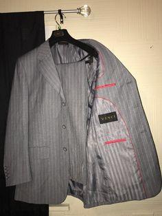 Men's Vinci 2pc Gray Pinstripe Suit    eBay