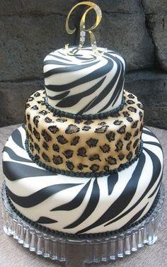 Zebra and Leopard Cake Pretty Cakes, Cute Cakes, Beautiful Cakes, Amazing Cakes, Torta Animal Print, Animal Print Party, Animal Prints, 20 Birthday Cake, 30th Cake