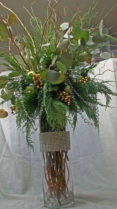 Tall centerpiece, lobby decor, evergreens, gold ornaments, 'crystal' garland, 'rhinestone' vase wrap, apple green ornaments, San Diego delivery ,San Diego Florist