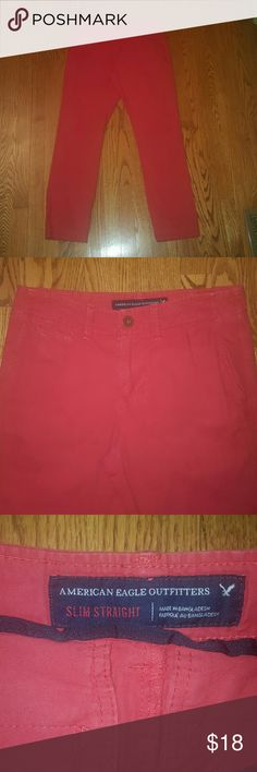 Men's coral American Eagle slim straight pants 29 Men's bright coral American Eagle slim straight summer pants. Size 29 x 30, excellent condition. American Eagle Outfitters Pants