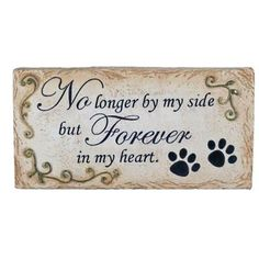 Pet Memorial Stone Paw Prints Flat Marker - No Longer By My Side but Forever in My Heart - Er28216 *** More info could be found at the image url.