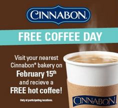 FREE Coffee at Cinnabon Today - http://ift.tt/1oDUDXW