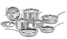 Made from stainless steel, this cookware set heats quickly and spreads heat evenly. An aluminum core also adds to the durability of this cookware set. This MultiClad Pro Cookware Set by Cuisinart