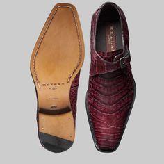Mezlan Men's Gables Burgundy Crocodile Monk Strap Loafers at Dellamoda.com (MZ1011)