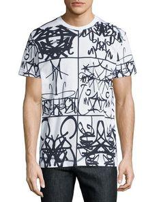 Moschino Graffiti-Text Graphic T-Shirt, White Graffiti Text, Men Store, Polo T Shirts, Moschino, Shirt Style, Shirt Dress, Mens Fashion, Genius Hour, Youth Culture