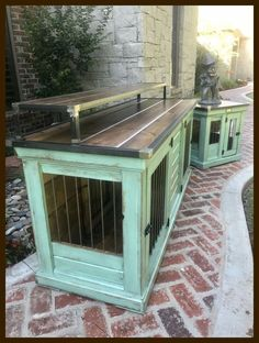 Designer indoor dog Replace your wire dog crate with a beautiful piece of functional furniture! Great conversation piece that can be used as an enterta. Building A Dog Kennel, Build A Dog House, House Building, House Dog, Metal Dog Kennel, Diy Dog Kennel, Kennel Ideas, Luxury Dog Kennels, Dog Crate Furniture
